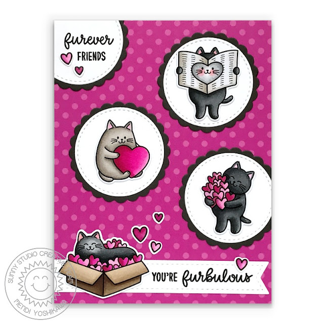 Sunny Studio Blog: Hot Pink Kitty Cat Love Themed Valentine's Day Card (using Meow & Furever Stamps, Stitched Circle Dies, Scalloped Circle Mat 1 Dies & Polka-dot Parade Paper)