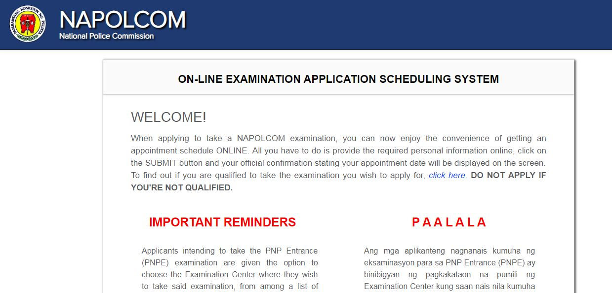 April 2020 NAPOLCOM online application form OLEASS