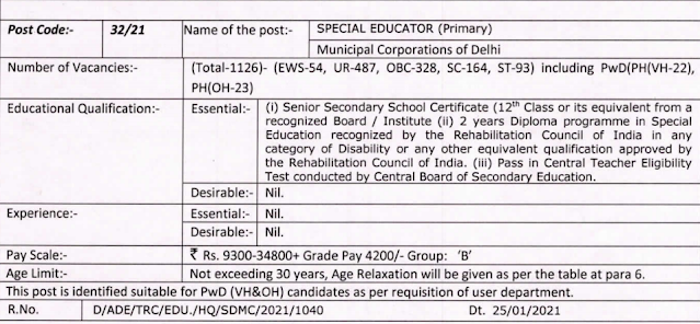DSSSB Primary Teacher Vacancy 2021