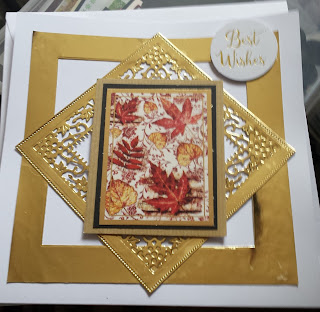 """""""Best Wishes"""" Autumn leaves 7"""" square card"""