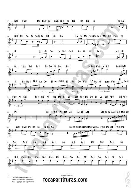 2 Partitura Fácil con Notas en Letras de Flautas, Violín, Saxofones, Clarinetes, Cornos, Trompetas... y instrumentos en Clave de Sol Spanish Notes Sheet Music for Treble Clef  Más Partituras PDF/MIDI con Notas aquí