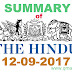 The Hindu News Paper Summary 12-09-2017