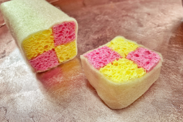 pretend battenberg cale made from minky sponges and felt