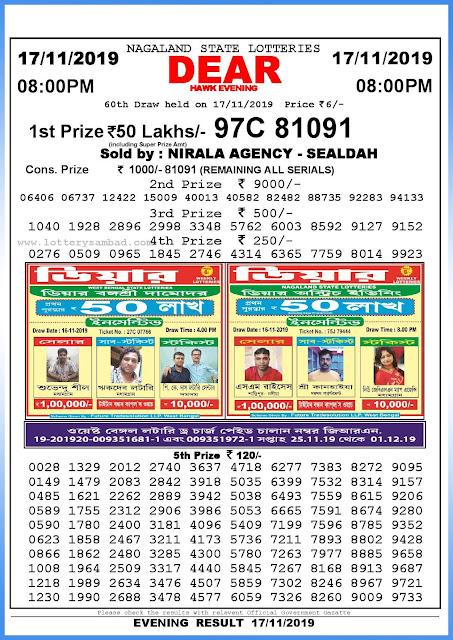 Lottery sambad 17-11-2019 Nagaland State Lottery Result 08.00 PM-sambadlottery.org