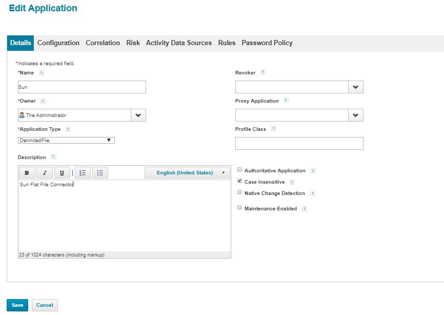 SAILPOINT IIQ: Delimited File Application Configuration