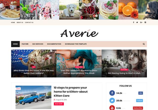 Averie mobile friendly blogger template