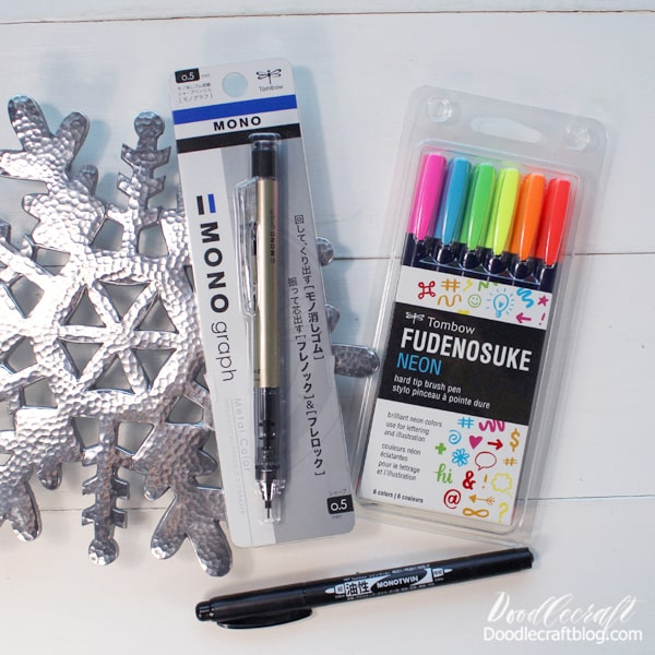 Stocking Stuffers #5: Creative ($27.37) MONO Graph Mechanical Pencil: $6.99 Fudenosuke Neon Brush Pens: $16.99 MONO Twin Permanent Marker: $3.39