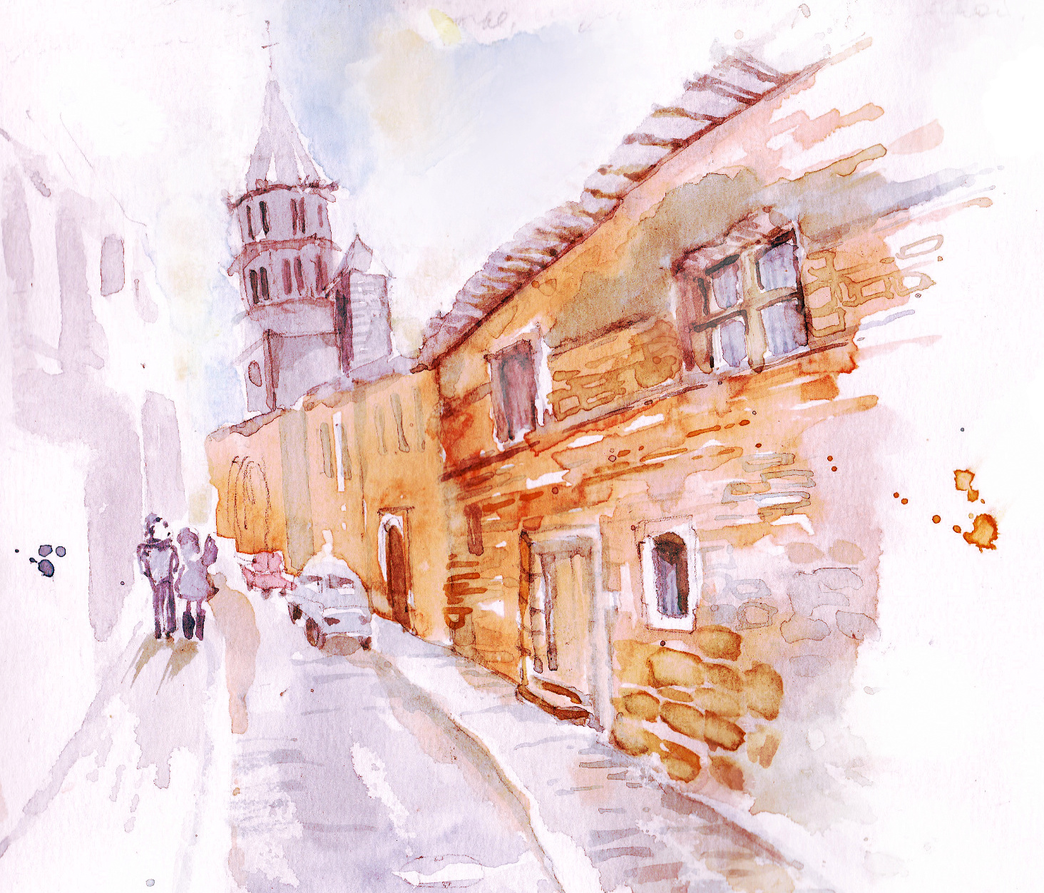 Saint-Félix-Lauragais watercolor