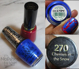 OPI 'Blue Shatter' and Revlon 'Cherries in the Snow'