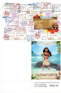 Imprimible con forma de Pasaporte de Moana.