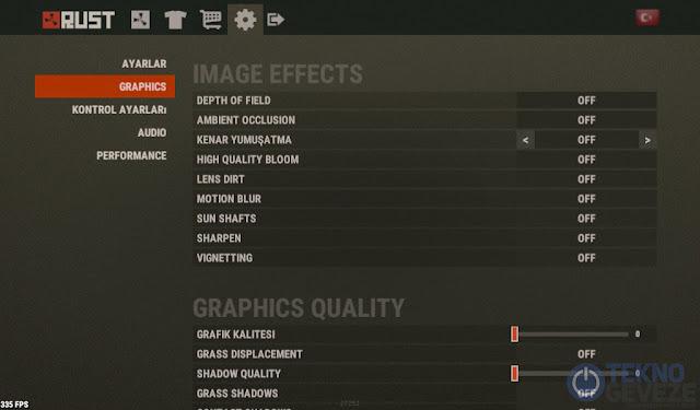 Rust FPS Yükseltme Ayarları