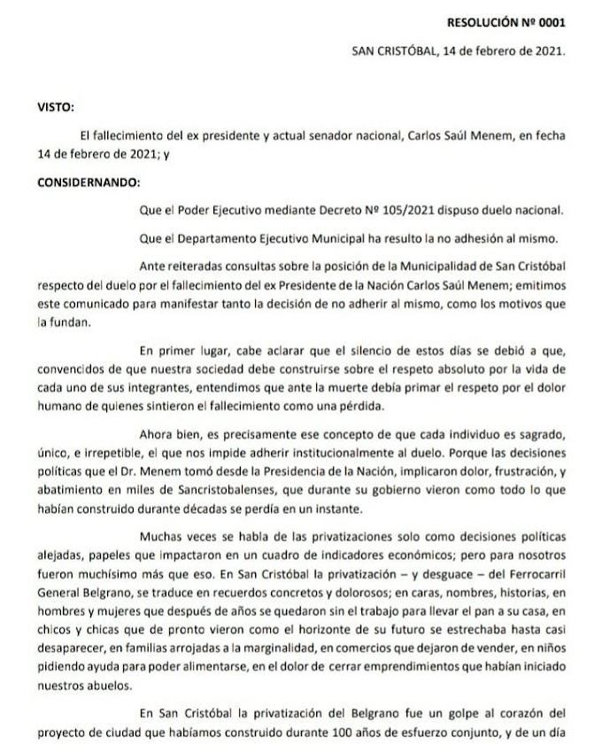 San Cristóbal no adhiere al duelo nacional por el fallecimiento de Menem