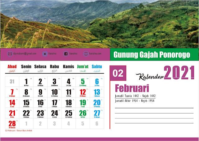 Kalender 2021 Bulan Februari