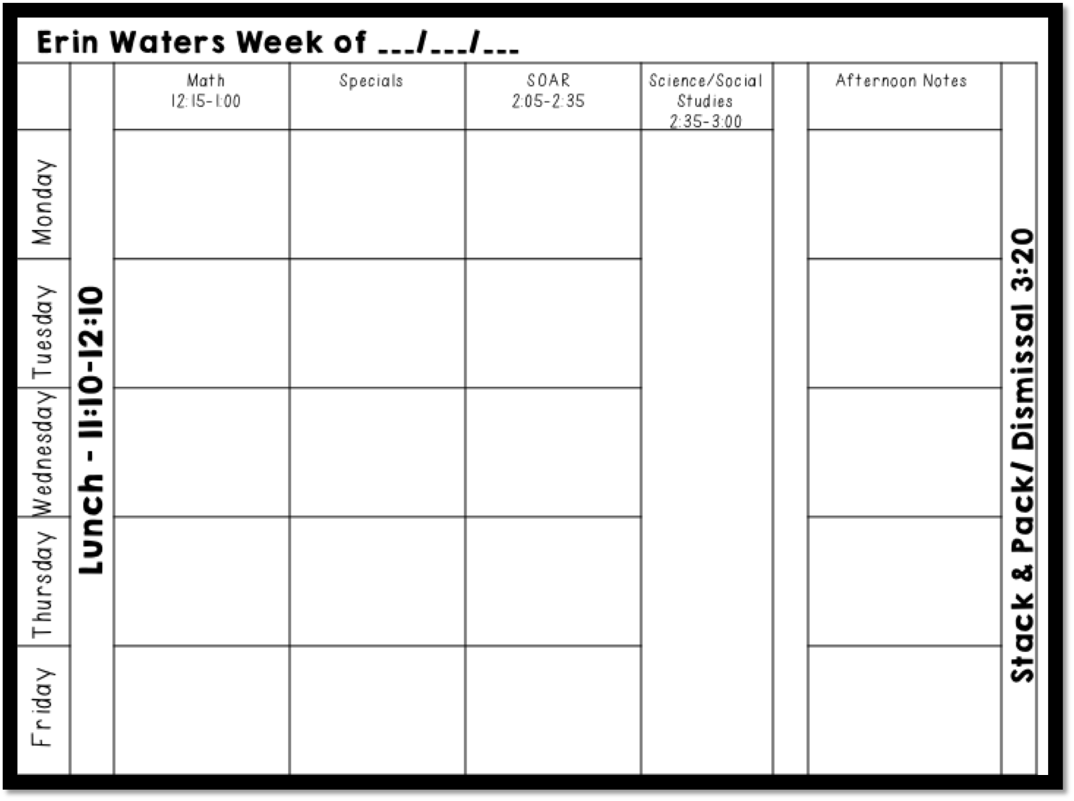Week at a glance template page 2 new calendar template site for Day at a glance calendar template