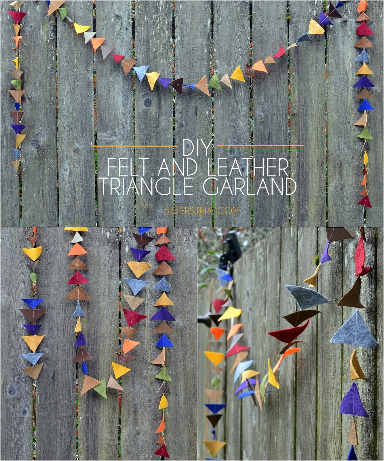 DIY felt and leather Triangle #Garland