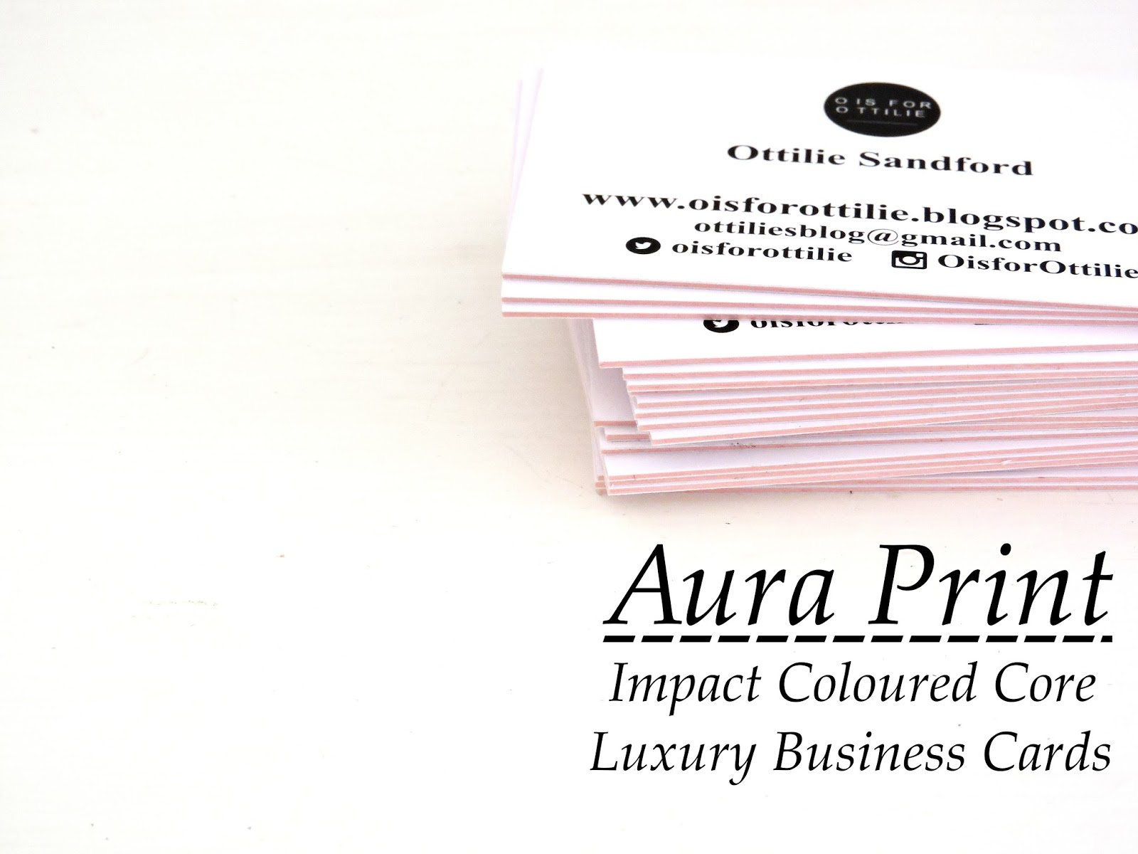 Luxury Coloured Core Business Cards | O is for Ottilie