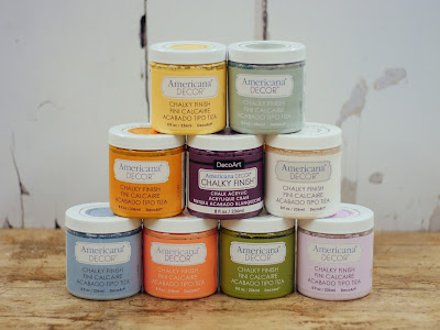 DecoArt chalky finish paint is fantastic for base coating projects as the surface needs no preparation and there are a wide variety of colours - even more once you begin mixing.