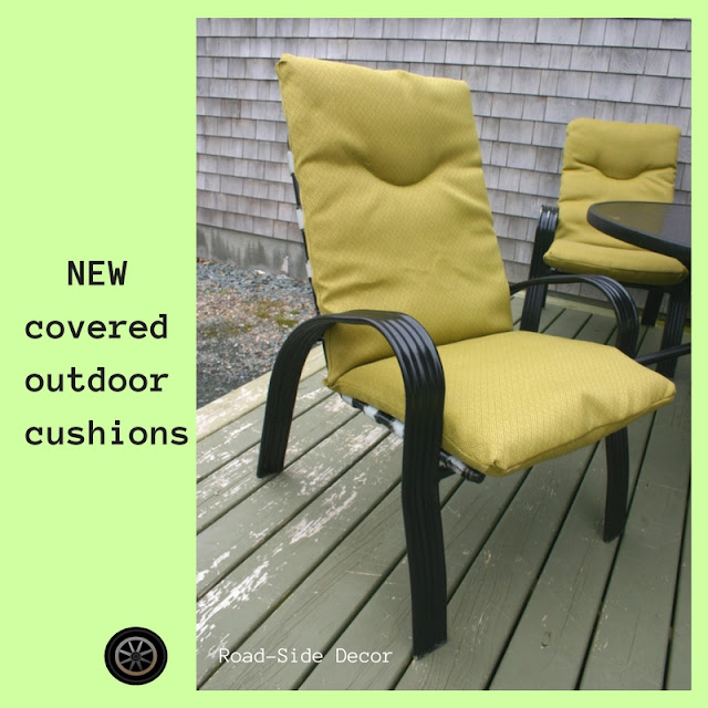 Bought last fall from the fabric store %50 off outdoor heavy duty fabric with a fine lovely yellowish green weave pattern.