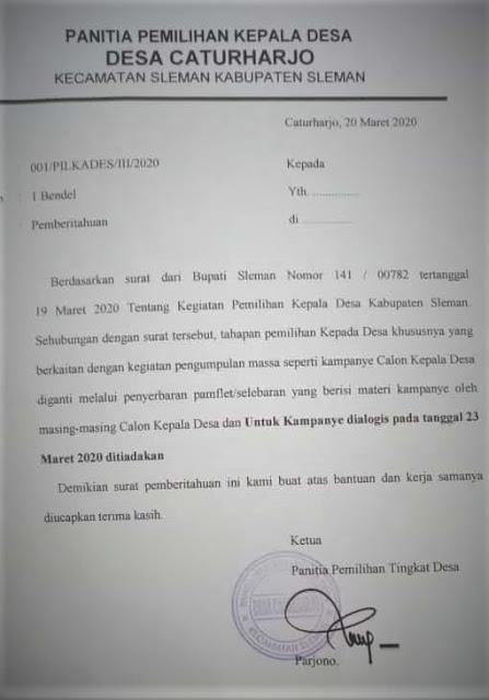 Surat pembatalan kampanye dialogis Pilkades Caturharjo