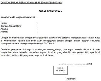Contoh Surat Pernyataan Bersedia Ditempatkan Diseluruh Wilayah NKRI