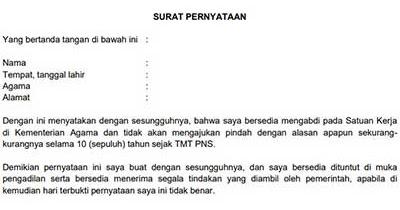 Surat Pernyataan Bersedia Ditempatkan Diseluruh Wilayah ...