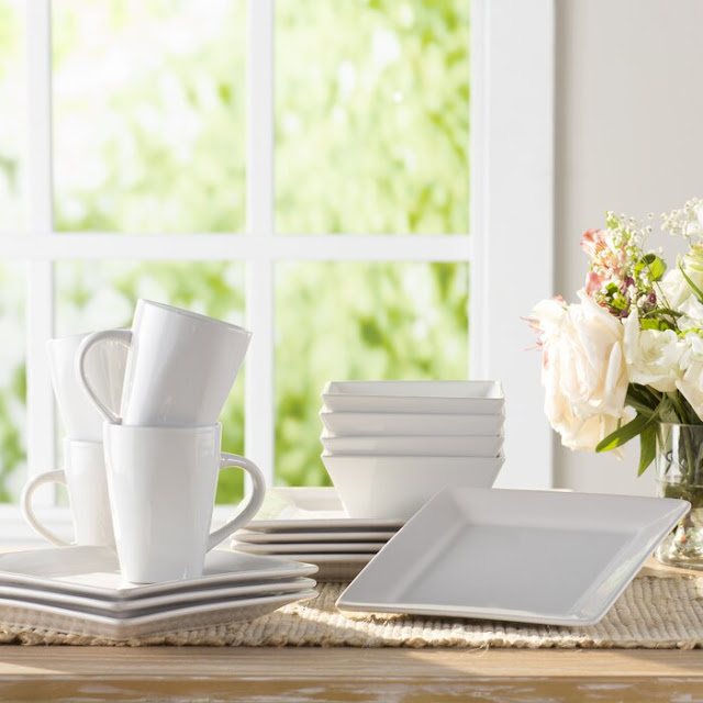 Wayfair Basics 16 Piece Ceramic Dinnerware Set, Service for 4