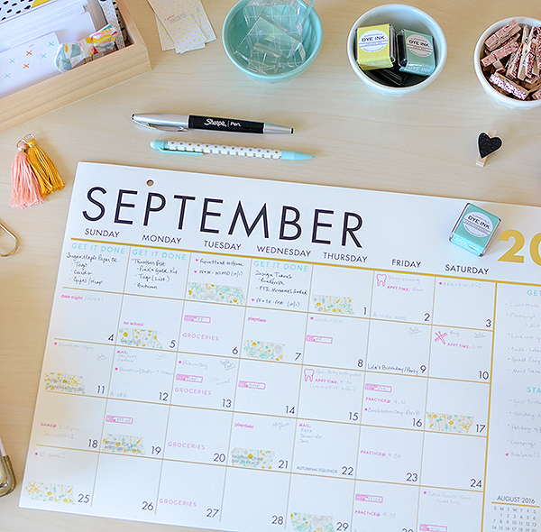 pti moments inked staying on task with a desk calendar stamps