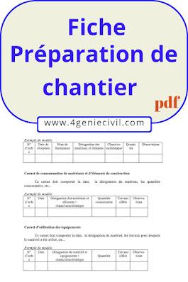 FICHE PREPARATION ET AMENAGEMENT DES CHANTIERS
