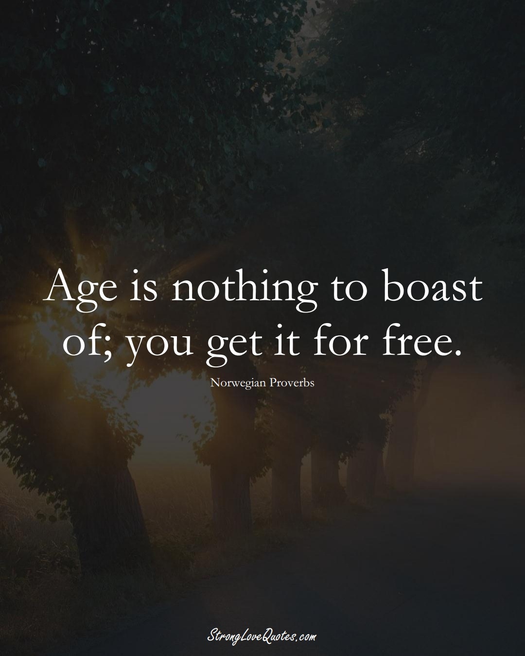 Age is nothing to boast of; you get it for free. (Norwegian Sayings);  #EuropeanSayings