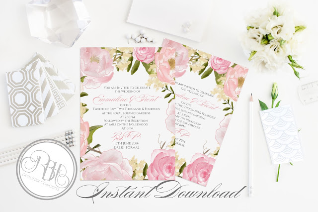 Dusty Pink Peonies, Roses, Wedding, Invite, template
