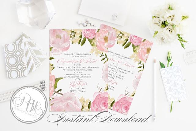 Dusty Pink Peonies, Roses, Wedding, Invite, template