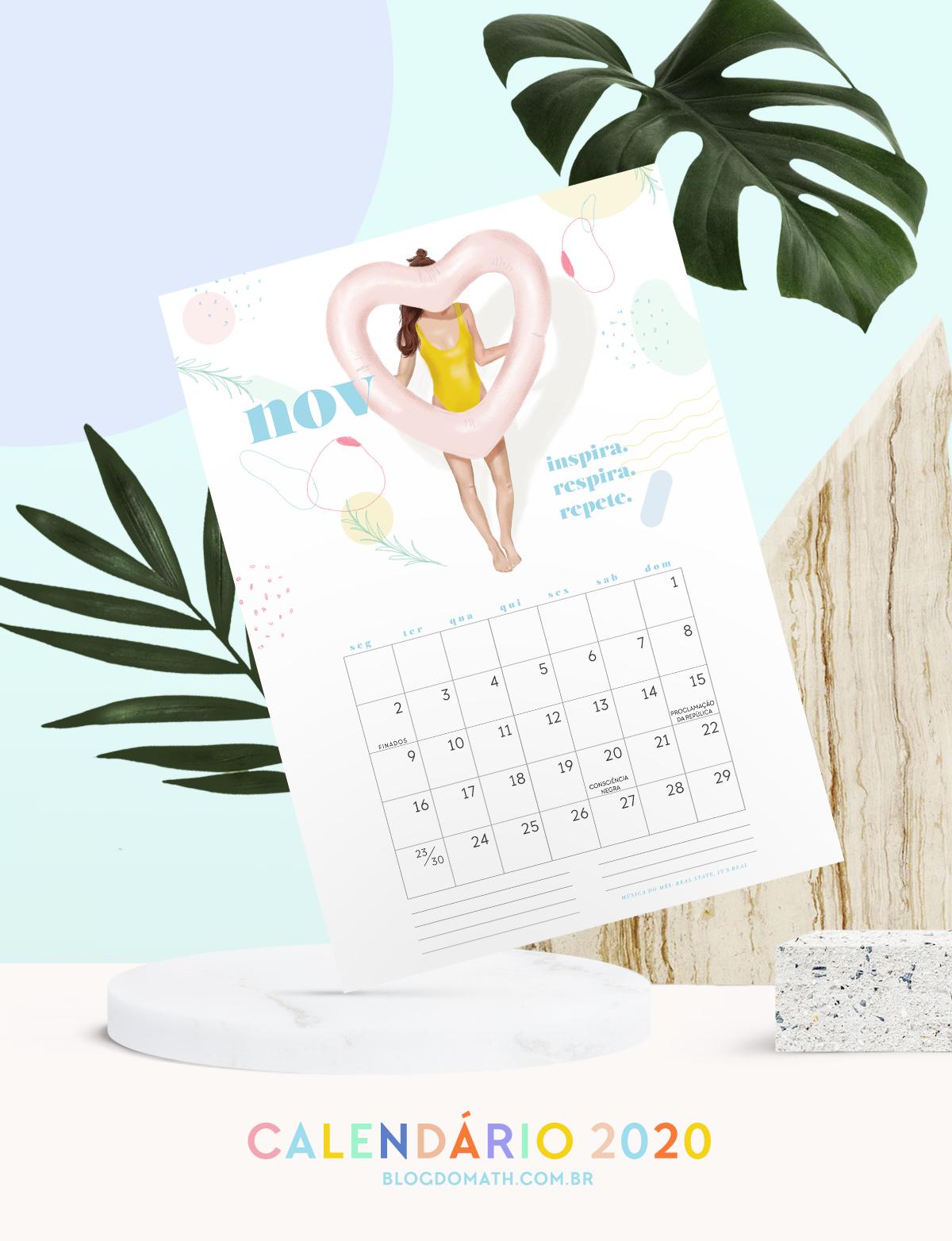 2020 printable colorful illustrated calendar