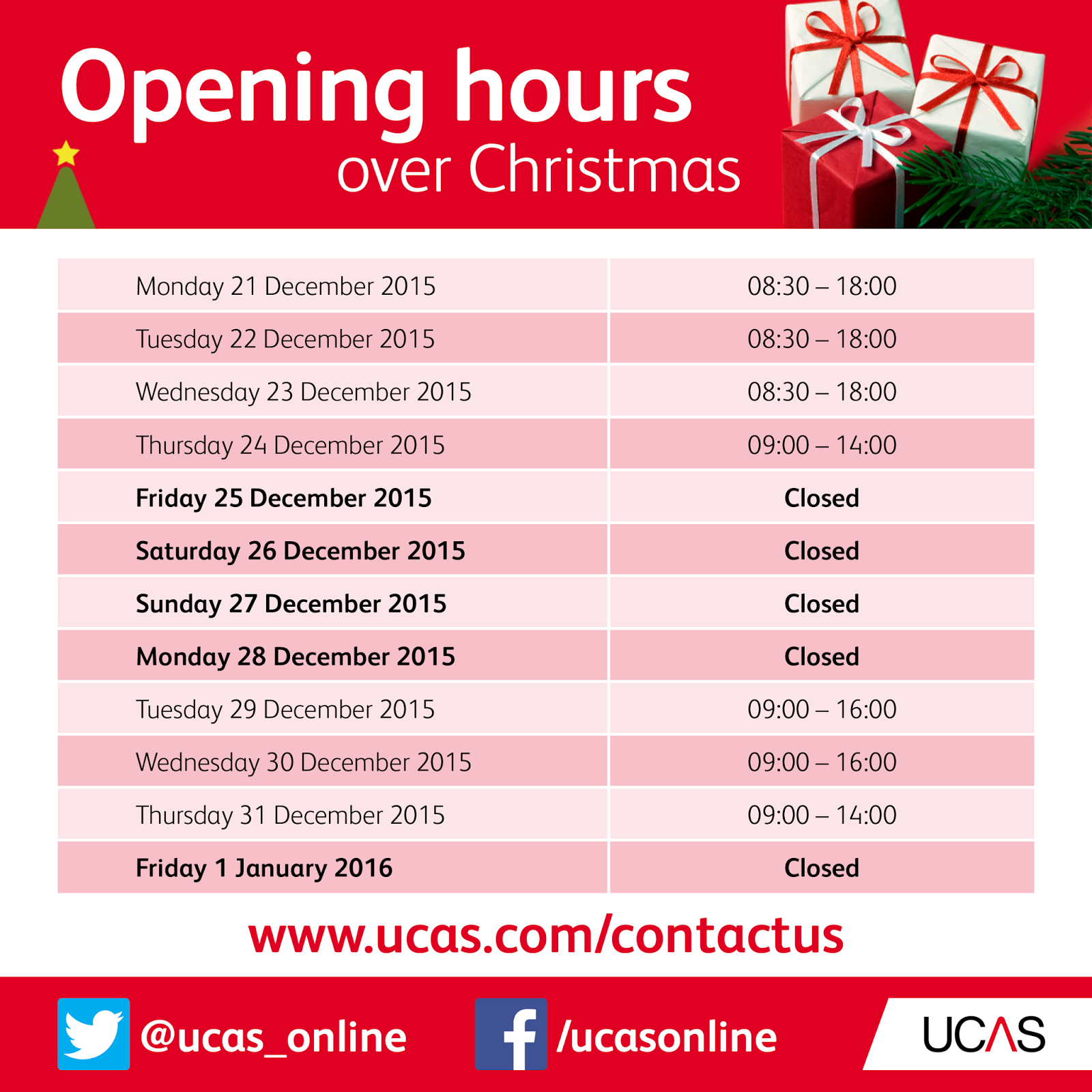 Christmas Opening Hours.The Ucas Blog Christmas Opening Hours