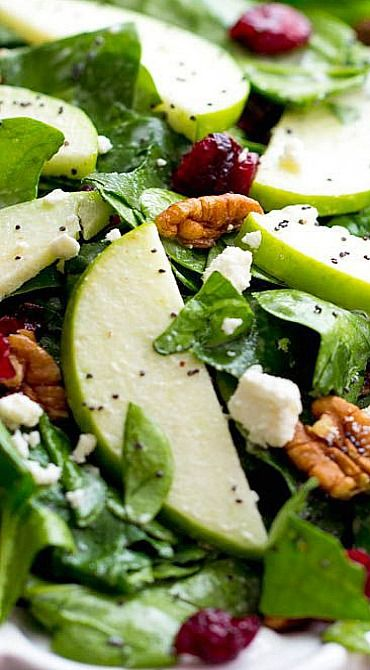 An amazing fall salad with the best creamy poppyseed dressing that you will ever have!