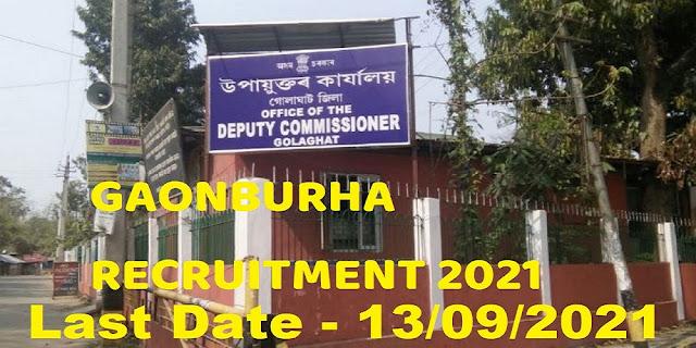 DC Office Golaghat Gaonburha Recruitment Notice 2021
