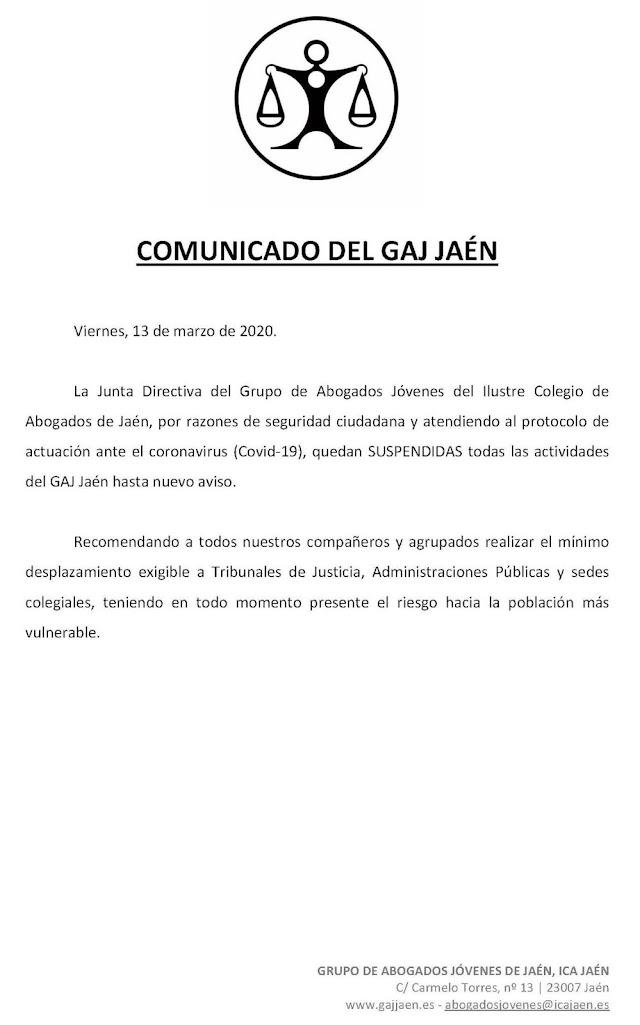 Comunicado del GAJ Jaén por el Covid-19