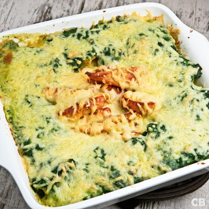Recept Romige kip-aardappelschotel met kaas en spinazie