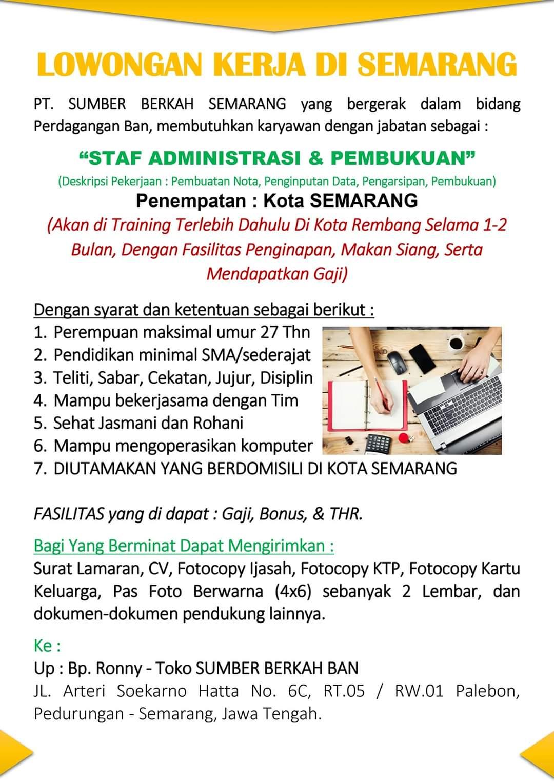 LOWONGAN KERJA PT. Sumber Berkah Semarang