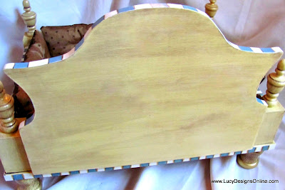 curved headboard on hand made dot bed