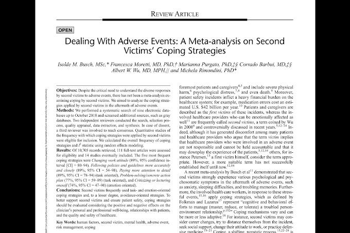 Manejo de eventos adversos: un metaanálisis sobre las estrategias de afrontamiento de las segundas víctimas