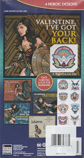 Back of Wonder Woman Valentines With Rub On Transfers box
