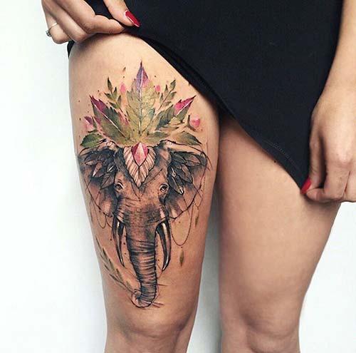 kadın üst bacak fil dövmesi woman thigh elephant tattoo