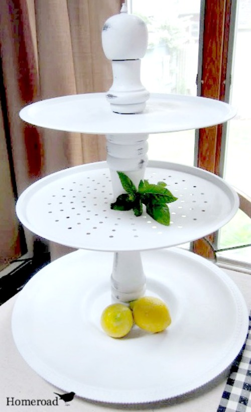 Tiered Trays from bakeware painted white