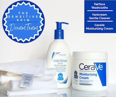 best sensitive skin products - the Dream Team Fairface Washcloths, Vanicream cleanser, CeraVe cream