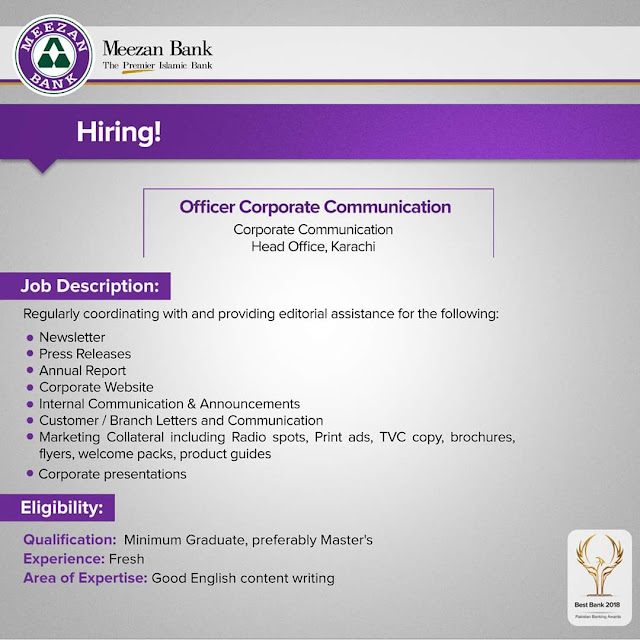 Meezan Bank Jobs 2020 for Officer Corporate Communication