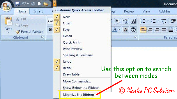 Minimize the Ribbon Option