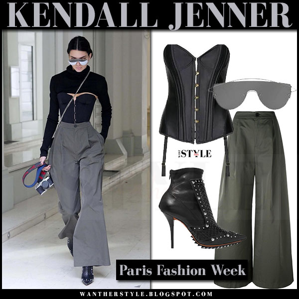 Kendall Jenner in black corset agent provocateur penelope and grey wide leg trousers erika cavillini what she wore