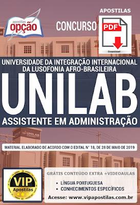 apostila Unilab 2019 PDF para Assistente em Administração