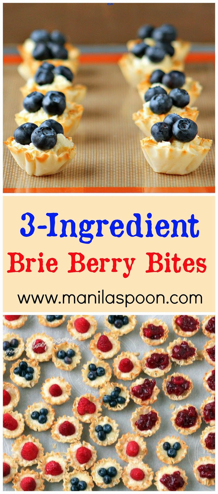 Only 3-ingredients to make these delectable nibbles! Great on any holiday table. #brie #berries #appetizers