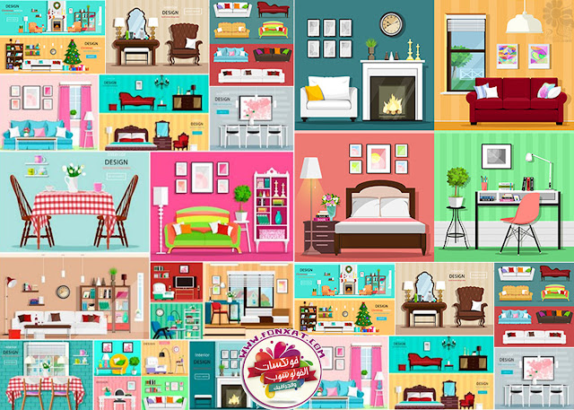 Cartoon vector illustrations interior design living room, bedroom, office